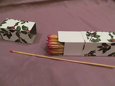 Vtg Wood Fireplace Matches Long Matchsticks Safety Match Strike Holly Berry Box