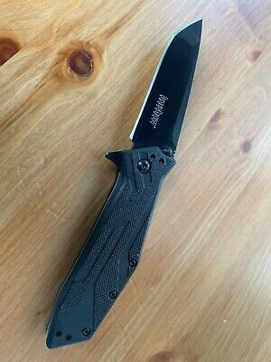 Kershaw 1990 Tactical Black Brawler Assisted Straight Tanto Folding Knife