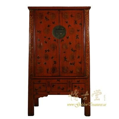 Antique Chinese Red Lacquered Butterfly Armoire, Wardrobe