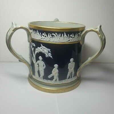 Antique Golf Stein Copland Pottery Three Handled Circa 1900-Excellent