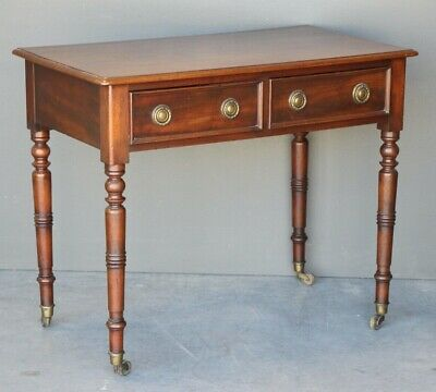 Antique Regency writing table mahogany Georgian two drawers hallway console 1820