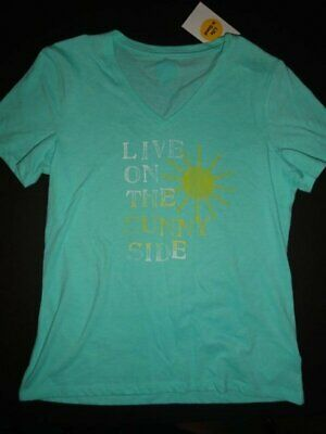 """NWT Life is Good Women's Small """"Live on the Sunny Side"""" Aqua T-shirt"""