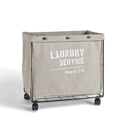 Danya B LY207 Army Canvas Laundry Hamper on Wheels