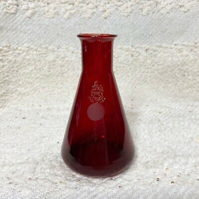 """Vintage Pyrex ruby red glass 250ml beaker laboratory apothecary bottle 5.5"""""""