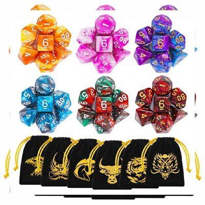 DND Dice, 42 Pieces Dungeons and Dragons Dice with Gold Patten Bags for...