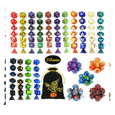 QMAY DND Dice Set, 140PCS Polyhedral Game Dice, 20 Color Double-Colors DND...