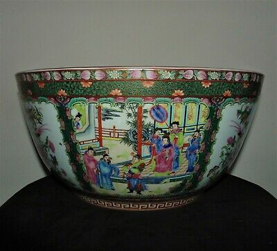 """HUGE Chinese Export Famille Rose Medallion Punch Asian Oriental 16 1/4"""""""