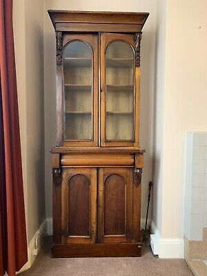 Victorian glass-fronted oak bookcase, COLLECT IN PERSON FROM FOLKESTONE