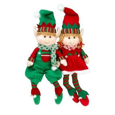 """SCS Direct Elf Plush Christmas Stuffed Toys- 12"""" Boy and Girl Elves (Set of..."""