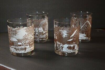 Set of 4 Highball Glasses Currier & Ives 'American Homestead Winter'