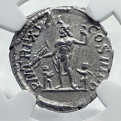SEPTIMIUS SEVERUS Authentic Ancient 210AD Silver Roman Coin JUPITER NGC i81665