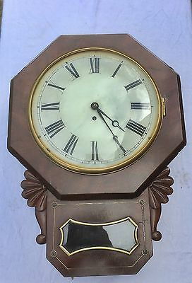 Antique Single Fusee Mahogany & Brass Inlay Drop Dial Wall Clock : CAST Bezel