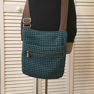 Thirty One Teal/black/brown Houndstooth Medium Size Crossbody Bag *issues*