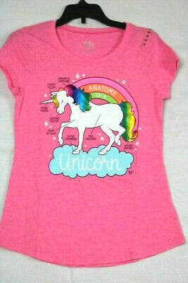 """Justice Girls' Size 12 Pink Shirt, """"Anatomy of a Unicorn"""" and Rainbow Graphic"""