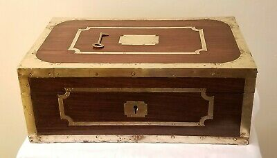 Antique 19th C. Brass Bound Solid Wood Campaign Box, Document Box, Working Lock