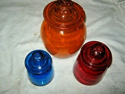 A Set of 3 Retro 70's Candy Multi Coloured Glass Apothecary Daisy Lidded Jars