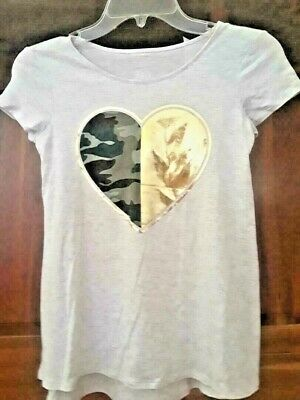 Justice Girls' Shirt, Size 10 - Heart Graphic 1/2 Camo, 1/2 Foil Accent