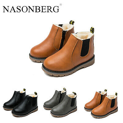Baby Kids Boys Girls Winter Soft Warm Fur Lined Shoes Ankle Boots Chelsea Boots