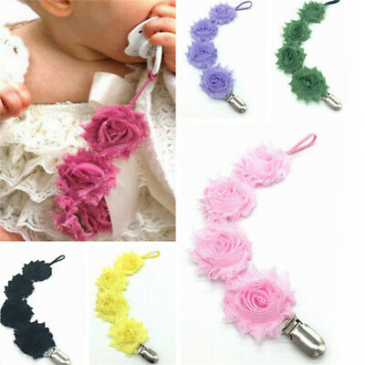 Infant  Dummy Soother Nipple Strap Flower Pacifier Chain Clip Holder Nursing CB