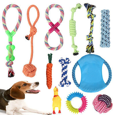 12x Dog Rope Toys Nolsen Toy Gift Durable Cotton Clean Teeth Pet Puppy Chew