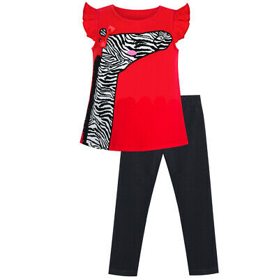 Sunny Fashion Girls Outfit Set Tee And Pants Zebra Clothing Set Age 2-6 Years