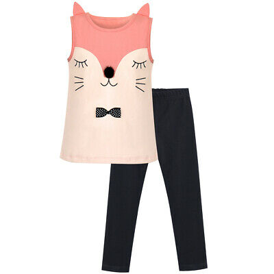 Sunny Fashion Girls Outfit Set Tee And Pants Fox Embroidered Size 2-6