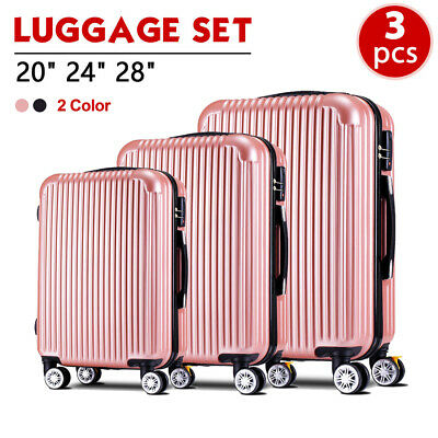 "3PCS Luggage Set Travel Bag Suitcase Carry On Trolley ABS+PC w/Lock 20"" 24"" 28"""