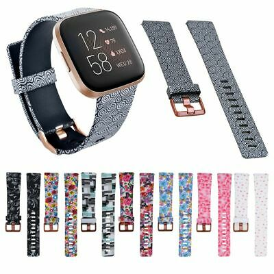 Soft Silicone Flower Floral Print Watch Band Strap Bracelet For Fitbit Versa 2
