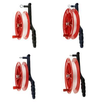 Red Fire Kite Grip Reel Screw Winder Wheel Handle Play Toy W/ Twisted String