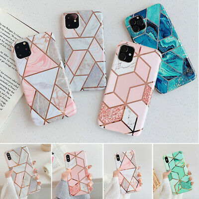 Geometric Marble Case For iPhone 11 Pro 6s 7 8 Plus XR X Soft Pastel Phone Cover