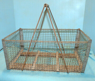 Antique Wire Metal Farm Basket Carrier w/ Fixed Handle, Barn Find Must See!