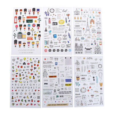 6 pcs/pack European Travel Paper Sticker Diary Scrapbooking Label Stick WCY