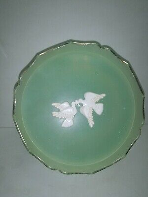 Vintage AVON RAPTURE BEAUTY DUST Plastic POWDER CONTAINER 6 oz GREEN DOVES