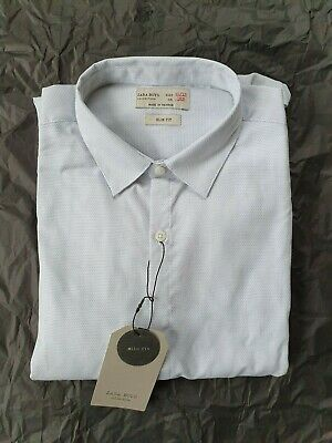Zara Boys Collection Slim Fit Shirt 11-12 light Grey Brand New with Tags