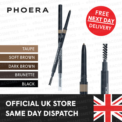 Phoera Ultra Slim Eye Brow Liner Pencil Spoolie Brush Retractable Eyebrow Makeup