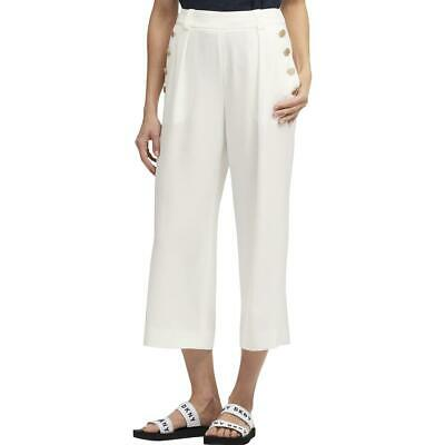 DKNY Womens Ivory Cropped High Rise Sailor Pants Trousers 16 BHFO 6914