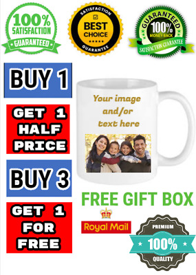 Personalised mug photo, text or both customized image, logo christmas birthday
