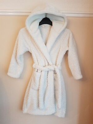 Marks & Spencer Dressing Gown Night Robe Girl's White Super Soft Age 7-8 Yrs