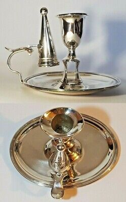 Antique Silver Plated Oval Chamberstick Candle Holder Matchbox Holder Snuffer
