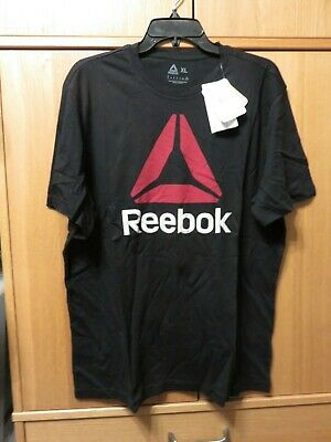 Reebok QQR Stacked Men's T Shirt Black - Size XL - NEW with Tags