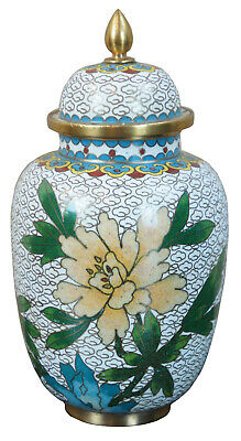 """20th Century White Enamel Lidded Cloisonne Urn Jar Floral Accent with Bird 6"""""""
