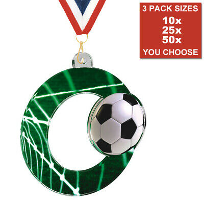 RUGBY PLAYER OF THE MATCH ACRYLIC MEDAL 50mm PACK OF 10 WITH RIBBONS 3 SIZES