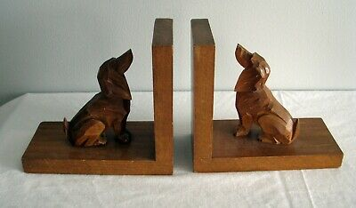 Antique German Black Forest carved Wood BOOKENDS Dachshund Doxie fox hunting dog