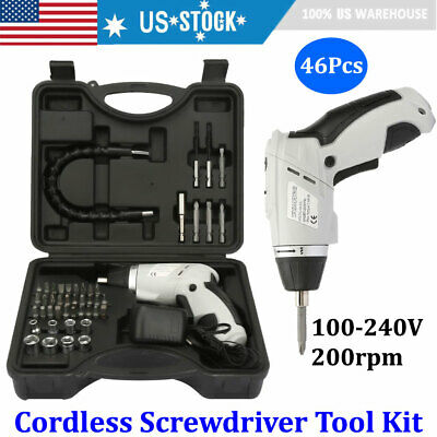 46pcs 3.6V Li-ion Rechargeable Cordless Electric Screwdriver Drill Kit Wireless