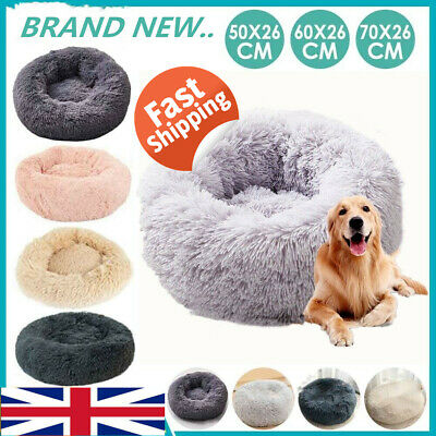 UK Large Pet Bed Luxury Shag Warm Fluffy Dog Bed Nest Cat Mattress Fur Donut Pad