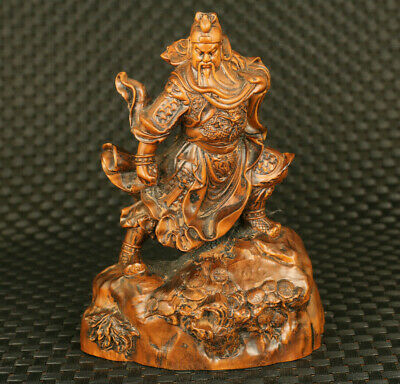 fine old boxwood Handcarved Zhong Kui statue home table ornament