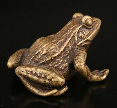 Unique Chinese Bronze Statue Solid Frog Mascot Decoration Gift Collection Old