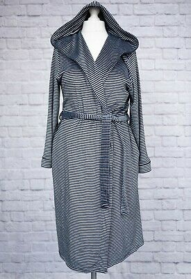 M&S Dressing Gown Wrap Robe Black Grey Striped Hooded Fleece Soft Stretchy