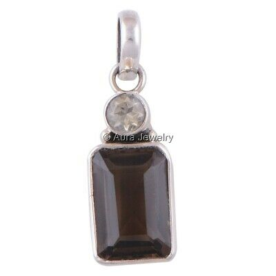 Smoky Topaz, Citrine Gemstone Solid 925 Sterling Silver Pendant Necklace P2045-1