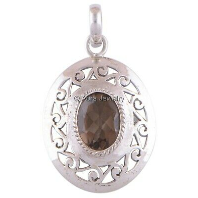 Solid 925 Sterling Silver Smoky Quartz Gemstone Pendant Necklace Jewelry P2110-1
